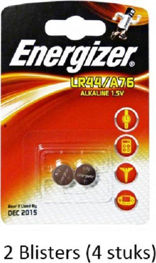 4 stuks (2 blisters a 2 stuks) Energizer Alkaline knoopcel LR44/A76 1.5V