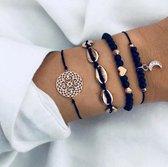 Joboly Set armbanden marmer schelp hartje maan mandala 4 delig - Dames - Goudkleurig - 18 cm