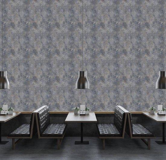 Bol Com Modern Grafisch Behang Blauw Grijs Goud Metallic As Creation New Walls Livingwalls