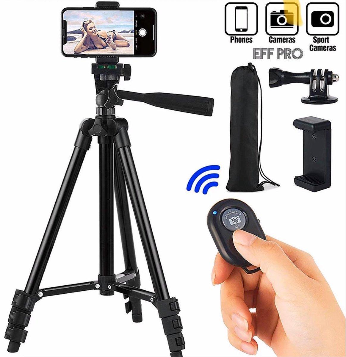 Tripod Camerastatief Zwart voor fotocamera en telefoon - iPhone - Canon   Nikon - Spiegelreflexcamer