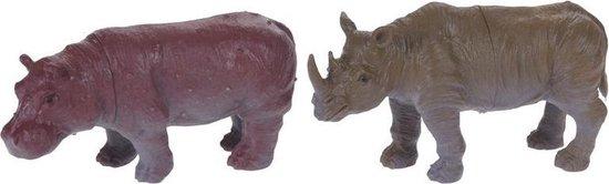 Free And Easy Dierenset 2-delig Neushoorn En Nijpaard 8 Cm