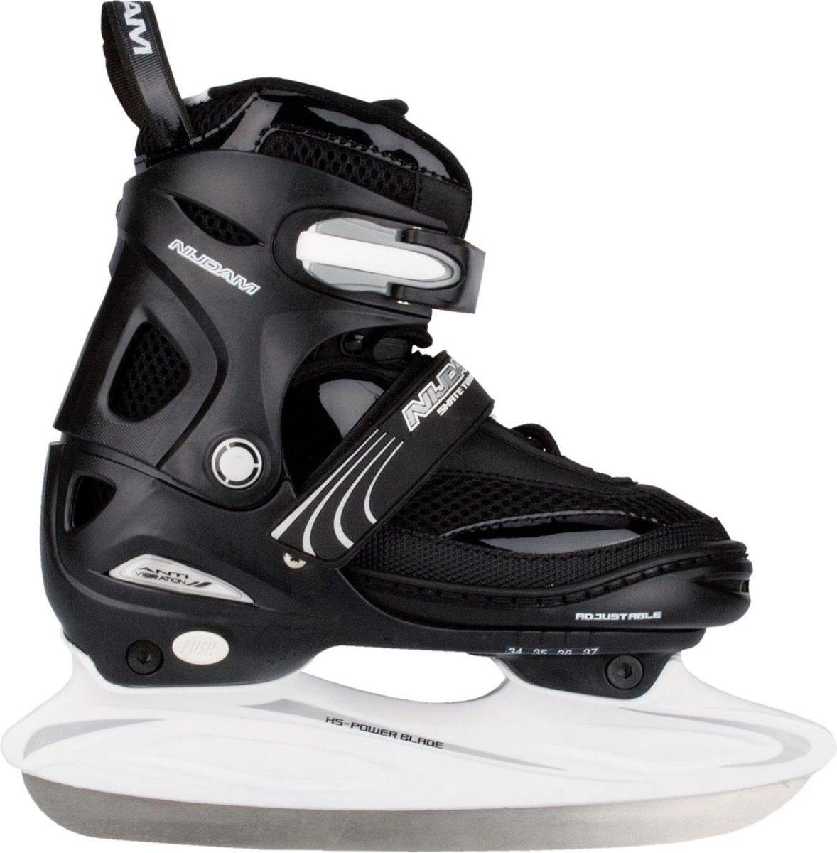 Nijdam Junior IJshockeyschaats - Verstelbaar - Semi-Softboot - Zwart/Wit - Maat 30-33