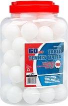 Get & Go Tafeltennisballen PP in Pot - 60 Stuks - Wit