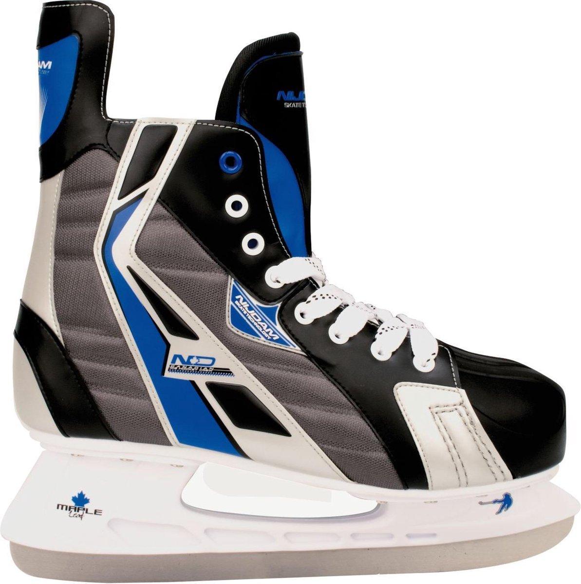 Nijdam IJshockeyschaats Polyester - Deluxe - Zwart/Blauw/Zilver - 44