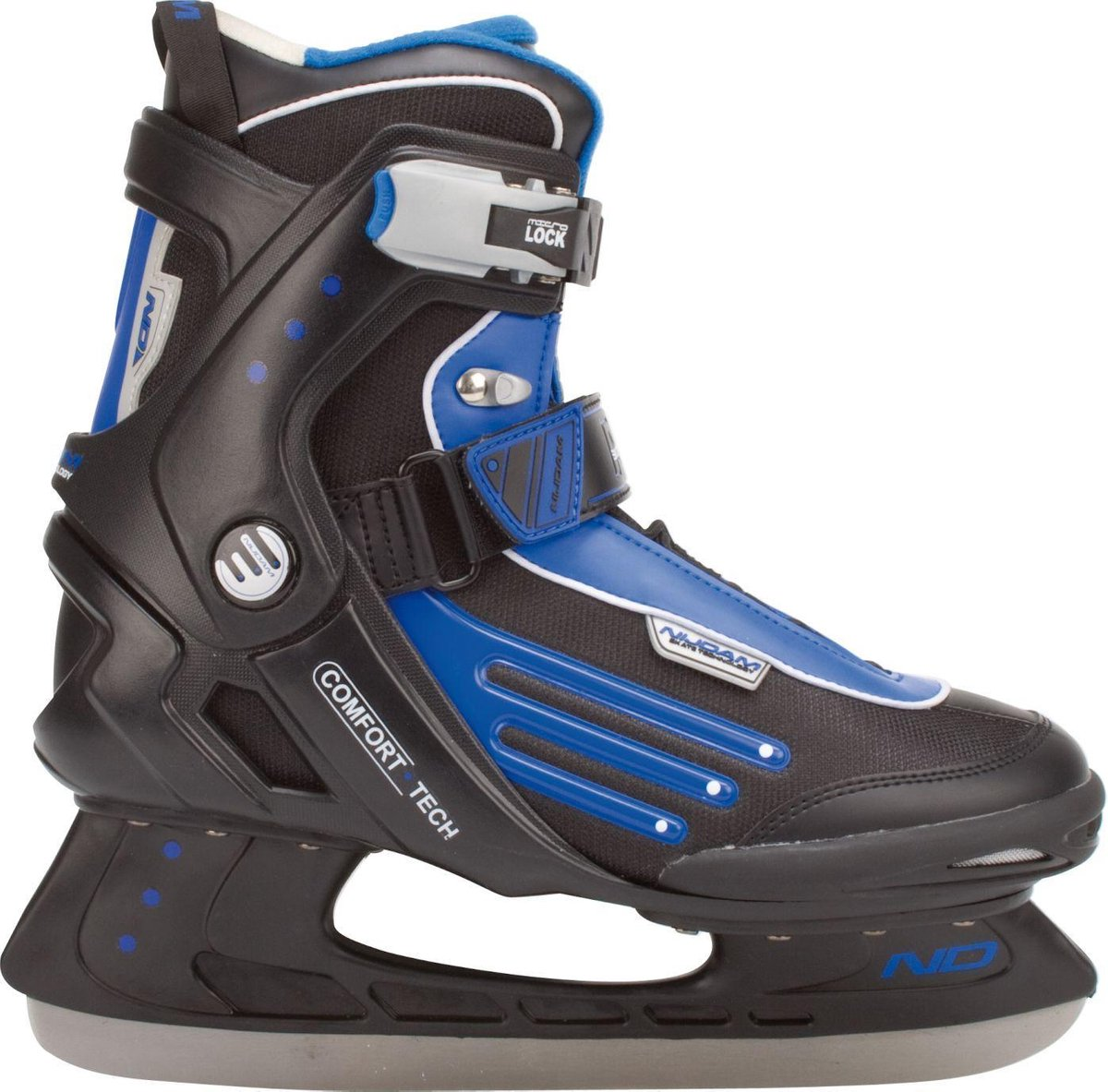 Nijdam IJshockeyschaats - Semi-Softboot - Zwart/Blauw/Zilver - 39