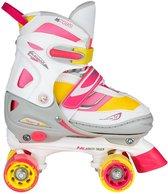 Nijdam Rolschaatsen Verstelbaar Semi-Softboot - Rave Skate - Fluorroze/Fluorgeel/Wit/Grijs/Antraciet - 34-37