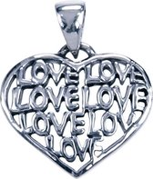 Zilveren Hart met Love ketting hanger