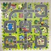 Afbeelding van Kinder Speelmat - Straten Puzzelmat - 9-delig Speel Kleed met Wegen, Straten en Gebouwen - Educatief Speel Kleed voor Baby/Peuters/Kinderen vanaf 0 jaar - 90x90 cm speelgoed