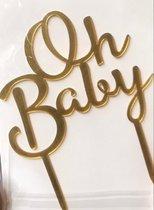 oh baby goud cake topper| taart topper baby shower , gender reveal, geboorte