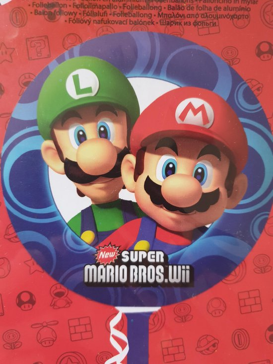 Folie ballon Mario Bros (gevuld met helium)