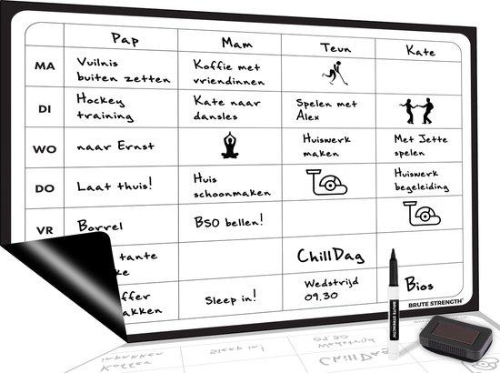 Magnetisch Weekplanner whiteboard (12) - A3 - Planbord - Familieplanner - Gezinsplanner - To Do Planner