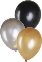 Ballonnen 14 inch per 6 metallic 2 x goud, 2 x zwart , 2 x zilver