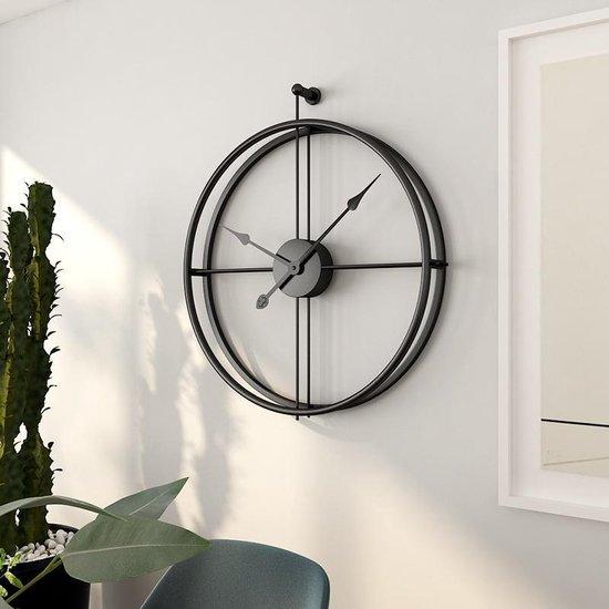 LW Collection Moderne Zwarte Klok / Muurklok Zwart / Wandklok Zwart Metaal zonder cijfers of letters Rond 52cm / Chique Zwarte Ronde Moderne Klok