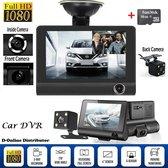 """Dashboard Camera 1080p FULL HD 4.0"""" Dashcam met 3 Camera's Voor en Achteruitrijcamera  met G-Sensor WDR 170° Groothoek Nachtzicht en Bewegingssensor *Inclusief: 16 GB SD kaart*"""