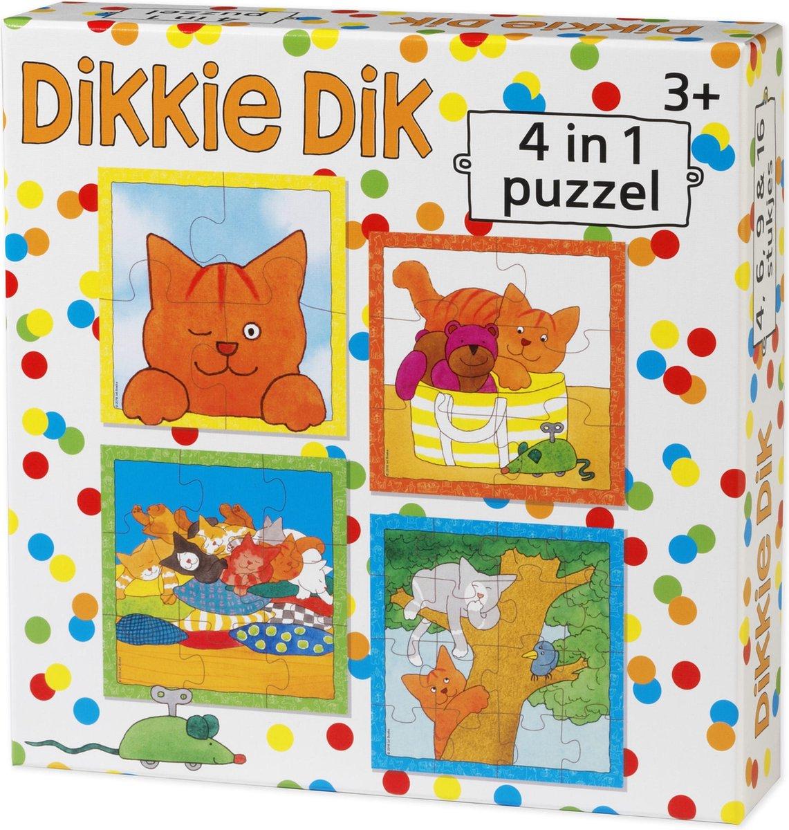 Dikkie Dik - 4in1 puzzelset - 4+6+9+16 stukjes - kinderpuzzel
