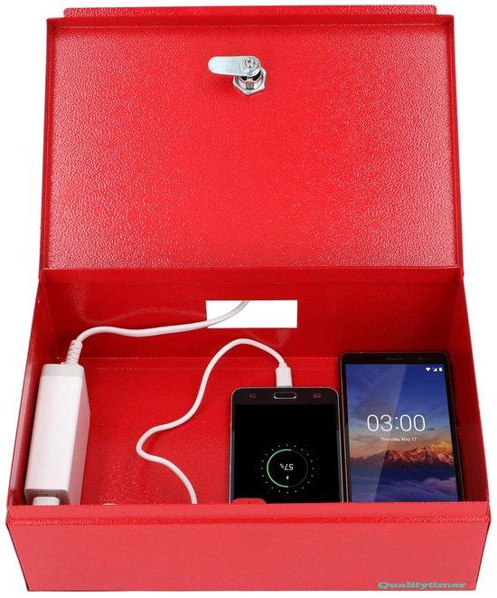 Qualitytimer Zwart. Opbergdoos voor mobiele telefoon (met oplaadstation voor max 5 apparaten)