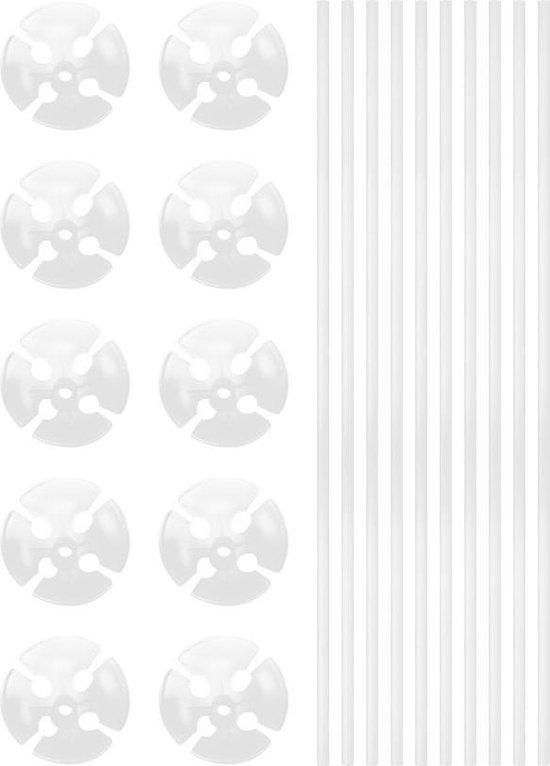Ballonstokjes Wit met houders 40cm 10 stuks