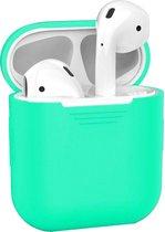 Hoes voor Apple AirPods Hoesje Siliconen Case Cover - Mint Groen