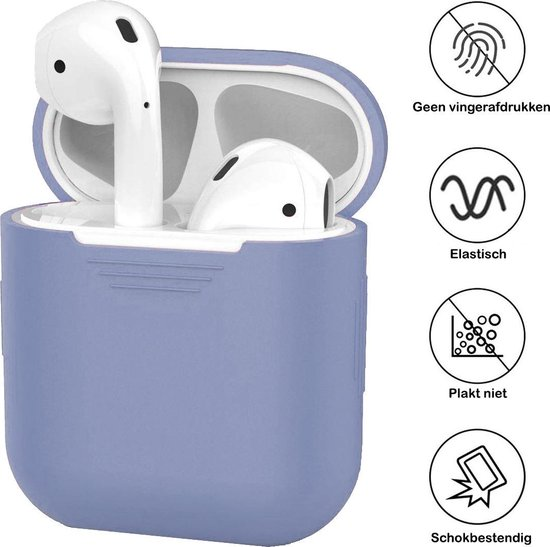 Siliconen Bescherm Hoesje Case Cover voor Apple AirPods 2 Hoes Lila