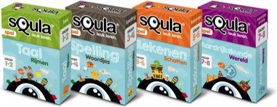 Afbeelding van het spel Squla - set van vier - Spelling, Rekenen, Rijmen, Aardrijkskunde