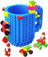 Lego Mok/ Build on Brick Mug - blauw - 350 ml - bouw je eigen mok met bouwsteentjes - BPA vrije drinkbeker cadeau voor kinderen of volwassenen - koffie thee limonade of andere dranken - pennenbeker - creatief accessoire voor op bureau -HnD
