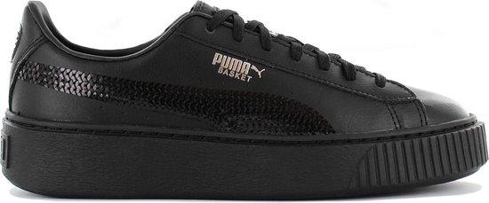 Puma Meisjes Sneakers Basket Platform Bling Jr - Zwart - Maat 39