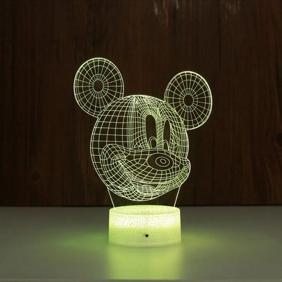 3D ILLUSIE LAMPJE MICKEY MET 7 KLEUREN I NACHTLAMPJE I 3D LAMP ILLUSION WITH 7 COLORS CHANGE SMART TOUCH SWITCH