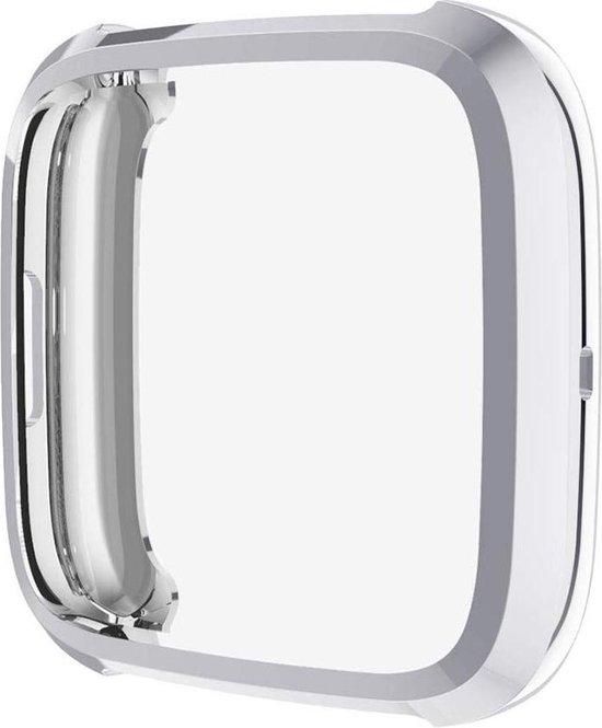 Full Cover Bumper voor Fitbit Versa 2 – Siliconen Case Screenprotector Bescherming Hoesje – Zilver