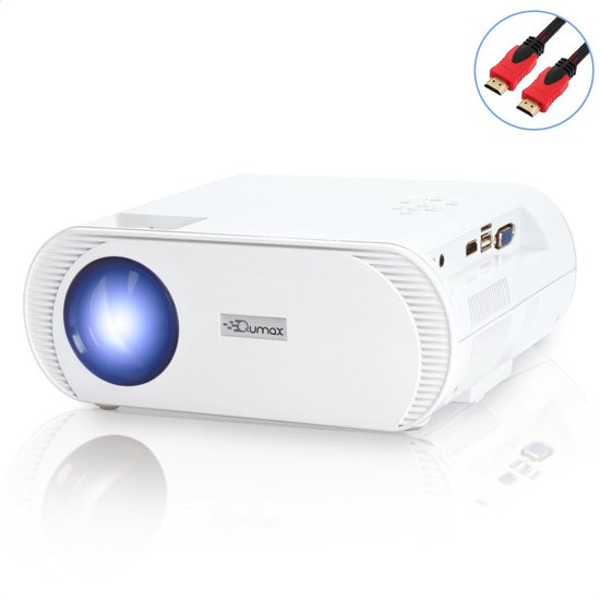 Qumax Beamer Met HDMI Kabel - Beamer Projector - Mini Beamer - 2500 Lumen - Wit