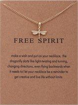 Free Spirit Ketting - Libelle hanger aan ketting - Geluksketting - Dragonfly