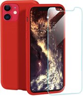 Apple iPhone 11 Hoesje - Siliconen Backcover & Tempered Glass Combi - Rood