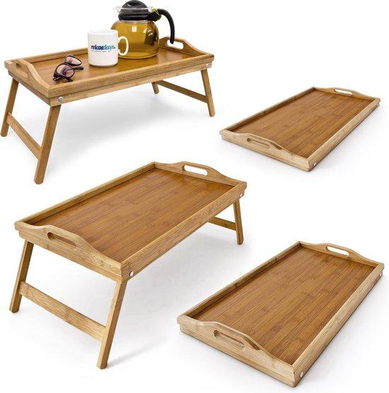relaxdays 4 x bedtafel - dienblad 50 x 30 cm - klapbaar - bamboe - ontbijt op bed