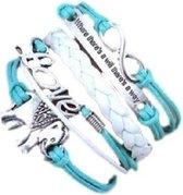 BY-ST6 meiden armband in de kleur lichtblauw/wit