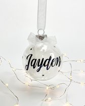Kerstbal transparant met naam  Kerstcadeau  Witte veren   Zwart/glitter  Witte strik 