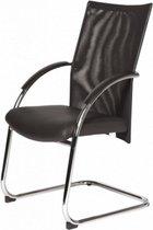 Schaffenburg Vergaderstoel - 090 stoel zit zwa leder rugl zwa mesh onderst chr