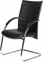 Schaffenburg Vergaderstoel - 090 stoel zit zwa leder rugl zwa leder onderst chr
