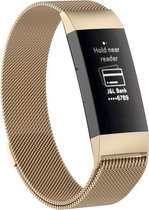 Fitbit Charge 3 & 4 bandje van By Qubix - milanese -  Maat: small - Vintage Goud- Geschikt voor activity tracker Fitbit charge 3 & 4 - magneetsluiting - Inclusief garantie!