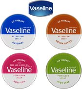 Vaseline Lip Therapy Set van 4, Rosy Lips, Aloë Vera, Cacao & Original