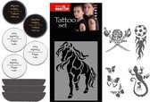 FANTASY Tattoo Make Up Set - Fixeerpoeder, Tattoo makeup & tattoo sjablonen set