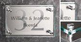 Naambord van helder glas en RVS achterplaat