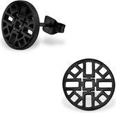oorbellen-zweerknopjes azteken -zwart-chirurgisch staal-10mm