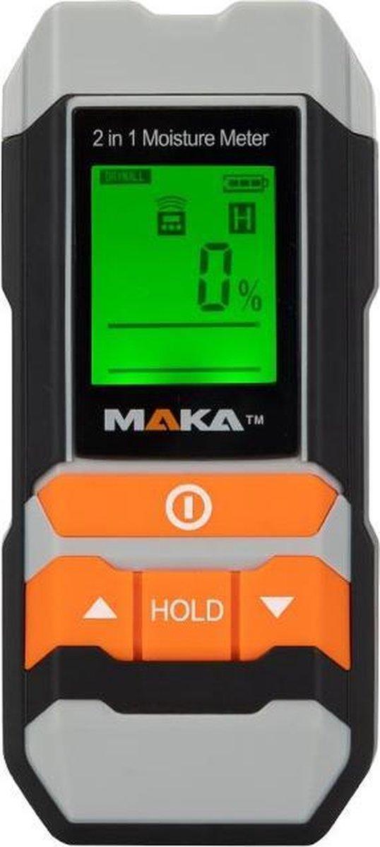 Maka 2 in 1 digitale vochtmeter - Verlicht LCD scherm - Hygrometer