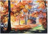Bospad - Bomen Landschap - Schilderij op Canvas - Woonkamer