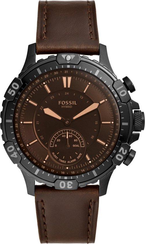Fossil Garrett Hybrid - Smartwatch - 44mm - Donkerbruin