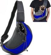Dog 'n Go - Draagtas Hond - Blauw - Maat L - Hondentas - Schoudertas - Reistas Hond - Stof