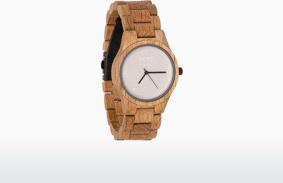 1915 Watches Houten Horloge – Dames – Fine Cotton Series – Eiken – Wit