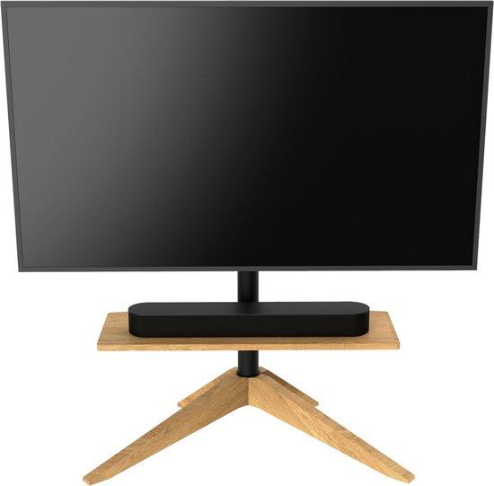 Cavus Cross 120 Design Tv Vloerstandaard met zwevende plank  - Massief Europees Eikenhout  - 120 ° Draaibare  TV Standaard geschikt voor 32-65 inch televisies tot 30kg - VESA 400X400