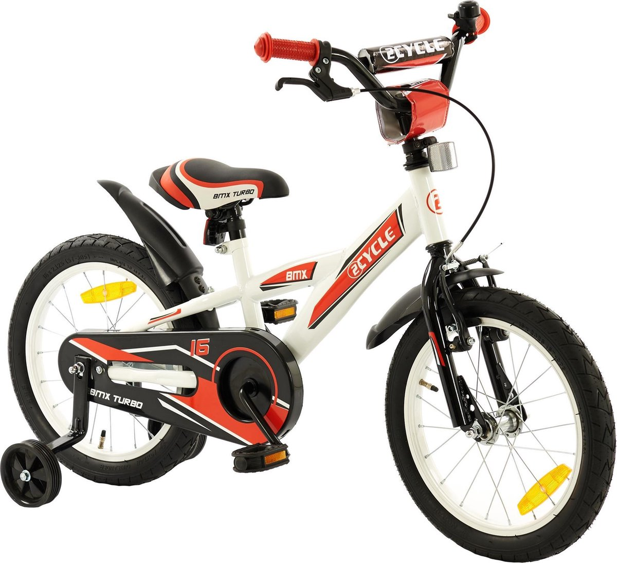 2Cycle BMX Kinderfiets - 16 inch - Wit-Rood - Jongensfiets