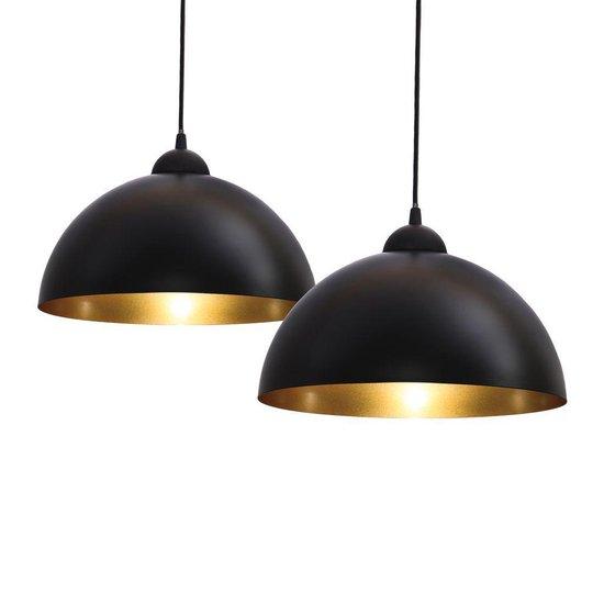 B.K.Licht - 2x Vintage Hanglamp - Ø30cm - E27 - zwart goud