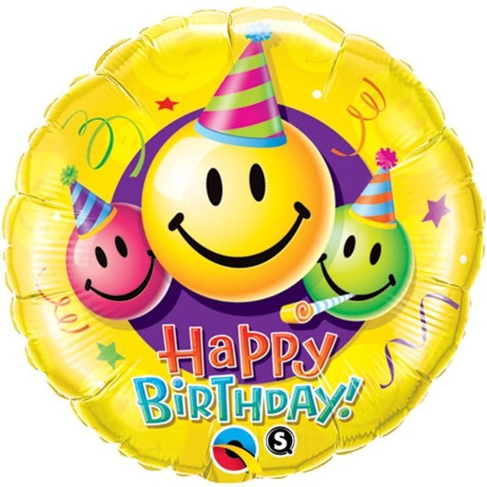 Folie Happy Birthday smiley 45 cm - Emoticons/emojis excl. helium